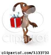 3d Brown Chocolate Lab Dog Holding A Gift On A White Background