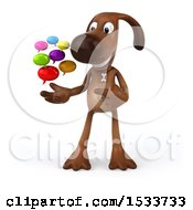 3d Brown Chocolate Lab Dog Holding Messages On A White Background