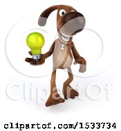 3d Brown Chocolate Lab Dog Holding A Light Bulb On A White Background