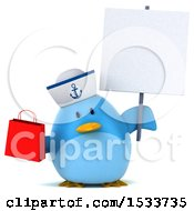 Clipart Of A 3d Chubby Blue Bird Sailor Holding A Shopping Bag On A White Background Royalty Free Illustration