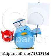 Clipart Of A 3d Chubby Blue Bird Sailor Holding A Devil On A White Background Royalty Free Illustration