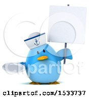 Clipart Of A 3d Chubby Blue Bird Sailor Holding A Plate On A White Background Royalty Free Illustration