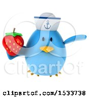 Clipart Of A 3d Chubby Blue Bird Sailor Holding A Strawberry On A White Background Royalty Free Illustration