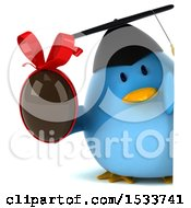Clipart Of A 3d Chubby Blue Bird Graduate Holding A Chocolate Egg On A White Background Royalty Free Illustration