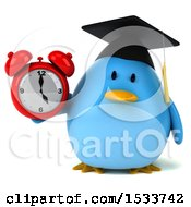 Clipart Of A 3d Chubby Blue Bird Graduate Holding An Alarm Clock On A White Background Royalty Free Illustration