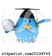 Clipart Of A 3d Chubby Blue Bird Graduate Holding A Golf Ball On A White Background Royalty Free Illustration