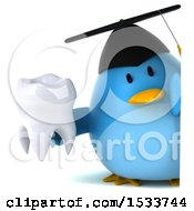 Clipart Of A 3d Chubby Blue Bird Graduate Holding A Tooth On A White Background Royalty Free Illustration