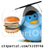 Clipart Of A 3d Chubby Blue Bird Graduate Holding A Burger On A White Background Royalty Free Illustration