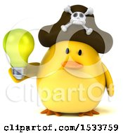 3d Yellow Bird Pirate Holding A Light Bulb On A White Background