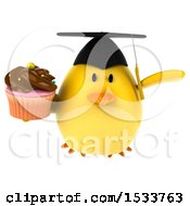 Clipart Of A 3d Yellow Bird Graduate Holding A Cupcake On A White Background Royalty Free Illustration