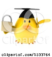 Clipart Of A 3d Yellow Bird Graduate Holding A Padlock On A White Background Royalty Free Illustration