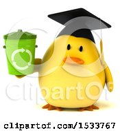 Clipart Of A 3d Yellow Bird Graduate Holding A Recycle Bin On A White Background Royalty Free Illustration