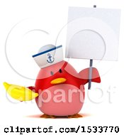 Clipart Of A 3d Red Bird Sailor Holding A Banana On A White Background Royalty Free Illustration
