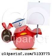 Clipart Of A 3d Red Bird Sailor Holding A Chocolate Egg On A White Background Royalty Free Illustration