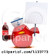 Clipart Of A 3d Red Bird Sailor Holding A Soda On A White Background Royalty Free Illustration