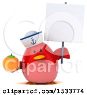 Clipart Of A 3d Red Bird Sailor Holding An Orange On A White Background Royalty Free Illustration