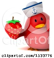 Clipart Of A 3d Red Bird Sailor Holding A Strawberry On A White Background Royalty Free Illustration