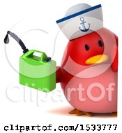 Clipart Of A 3d Red Bird Sailor Holding A Gas Can On A White Background Royalty Free Illustration