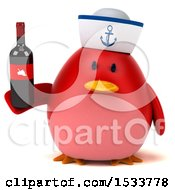 Clipart Of A 3d Red Bird Sailor Holding A Wine Bottle On A White Background Royalty Free Illustration