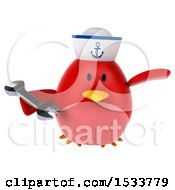 Clipart Of A 3d Red Bird Sailor Holding A Wrench On A White Background Royalty Free Illustration