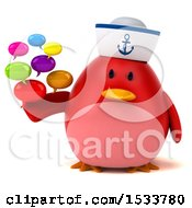 Clipart Of A 3d Red Bird Sailor Holding Messages On A White Background Royalty Free Illustration