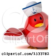 Clipart Of A 3d Red Bird Sailor Holding A Steak On A White Background Royalty Free Illustration