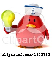 3d Red Bird Sailor Holding A Light Bulb On A White Background