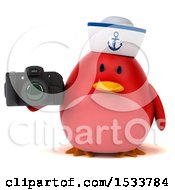 Clipart Of A 3d Red Bird Sailor Holding A Camera On A White Background Royalty Free Illustration