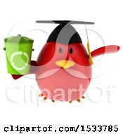 Clipart Of A 3d Red Bird Graduate Holding A Recycle Bin On A White Background Royalty Free Illustration