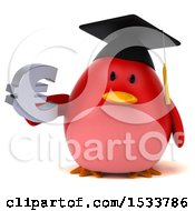 Clipart Of A 3d Red Bird Graduate Holding A Euro On A White Background Royalty Free Illustration