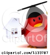Clipart Of A 3d Red Bird Graduate Holding A House On A White Background Royalty Free Illustration
