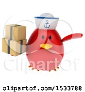 Clipart Of A 3d Red Bird Sailor Holding Boxes On A White Background Royalty Free Illustration