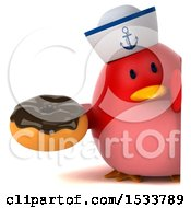 Clipart Of A 3d Red Bird Sailor Holding A Donut On A White Background Royalty Free Illustration