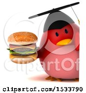 Clipart Of A 3d Red Bird Graduate Holding A Burger On A White Background Royalty Free Illustration