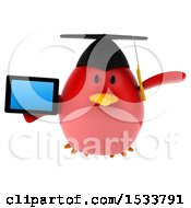 Clipart Of A 3d Red Bird Graduate Holding A Tablet On A White Background Royalty Free Illustration