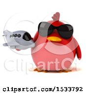 Clipart Of A 3d Red Bird Holding A Plane On A White Background Royalty Free Illustration