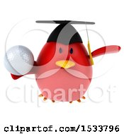 Clipart Of A 3d Red Bird Graduate Holding A Golf Ball On A White Background Royalty Free Illustration