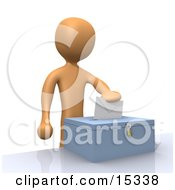 Voter Person Putting Their Voting Envelope In A Ballot Box During A Presidential Election Clipart Illustration Image