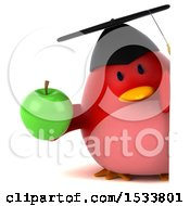 Clipart Of A 3d Red Bird Graduate Holding An Apple On A White Background Royalty Free Illustration