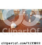 Clipart Of A 3d Wooden City Road Intersection With Cars Royalty Free Illustration