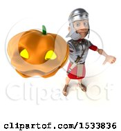 Clipart Of A 3d Young Male Roman Legionary Soldier Holding A Halloween Pumpkin On A White Background Royalty Free Illustration