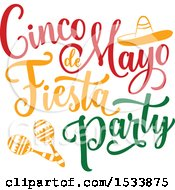 Clipart Of A Cindo De Mayo Design With Maracas And A Sombrero Royalty Free Vector Illustration by Vector Tradition SM