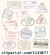 Clipart Of Passport Stamp Designs Royalty Free Vector Illustration by Vector Tradition SM