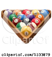 Clipart Of 3d Racked Billiards Pool Balls Royalty Free Vector Illustration by Vector Tradition SM