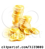 Clipart Of A Stack Of 3d Gold Dollar Coins Royalty Free Vector Illustration