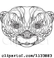 Clipart Of An Asian Small Clawed Otter Face In Black And White Zentangle Design Royalty Free Vector Illustration
