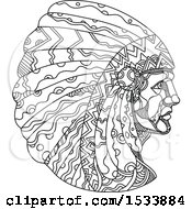 Clipart Of A Native American Wearing A Headdress In Black And White Zentangle Design Royalty Free Vector Illustration