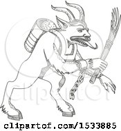 Clipart Of A Krampus Demon In Black And White Zentangle Design Royalty Free Vector Illustration