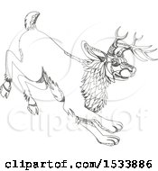 Clipart Of A Running Jackalope In Black And White Zentangle Design Royalty Free Vector Illustration