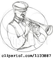 Jazz Musician Playing A Trumpet In A Circle In Black And White Zentangle Design